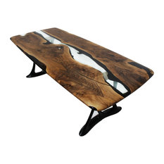 Naturalist Urbane 220 Epoxy Resin Dining Tables With Sand Casted Aluminum Base