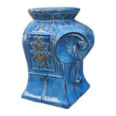 Catalina Contemporary Elephant Ceramic Garden Stool, Navy Blue