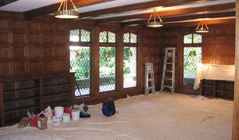 Wood panel room before