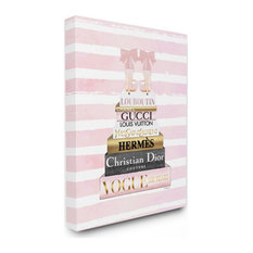 Glam Fashion Heals with Bookstack and Pink Stripes16x20
