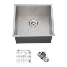 Single Bowl 90 Degree Stainless Steel Utility Sink, Ensemble