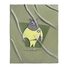 """Rhinoceros, Superhero Animal Art"" Sherpa Blanket 50""x60"""