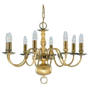 Flemish 8-Light Traditional Antique Brass Chain Pendant