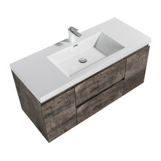 ALMA-PRE 60? SINGLE SINK VANITY WITH INTEGRATED WHITE SINK Walnut Gray