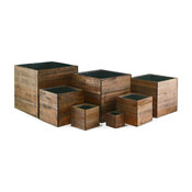 CYS Excel Natural Wood 7 Piece Cubic Planter Box With Removable Zinc Liner Set