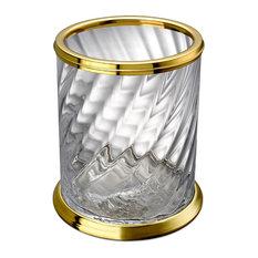 Spiral Clear Glass Round Open Top Wastebasket Trash Can Bath, Kitchen, Office