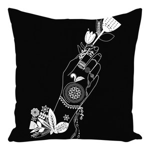 """This is the cover only White Blue Floral Throw Pillow Cover 16/"""" x 16/"""""""