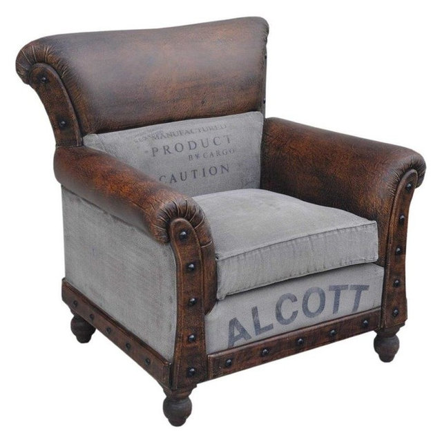 Classic Armchair, Brown Leather And Tan Canvas