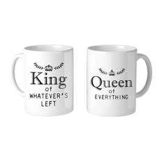 """""""King And Queen Of Everything Couple"""" 11oz Coffee Mug, Set Of 2"""