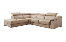 760 Leather Sectional Sofa with Electric Recliner in Beige, Left Facing Chaise