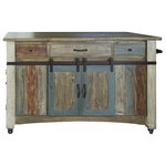 Crafters and Weavers - Bayshore Solid Wood Kitchen Island, Distressed - Bayshore Rustic Style Solid Wood Kitchen Island from Crafters and Weavers in Distressed Multicolored Finish