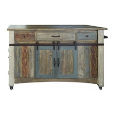 Crafters and Weavers - Bayshore Solid Wood Kitchen Island, Distressed - Kitchen Islands and Kitchen Carts