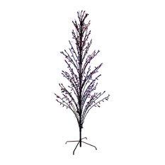 6' LED Lighted Halloween Cascade Twig Tree Outdoor Yard Art Decoration, Purple