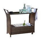 GDF Studio Benett Multi-Brown Wicker Serving Bar Cart