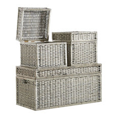 Traditional 3-Piece Set Storage Trunks, Wicker, Hinged Lid