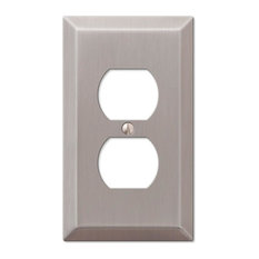 1 Duplex Outlet Wallplate, Amerelle Century, Brushed Nickel