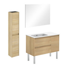 Ambra 90F Complete Vanity Unit With Column And Mirror Nordic Oak