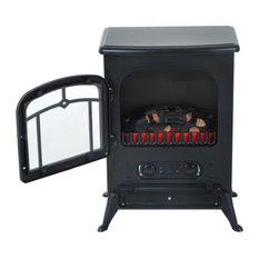 "HomCom 16"" 1500W Free Standing Electric Fireplace, Black"