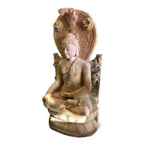 Mogul Interior - Garden Sculpture- Large Buddha Stone Statue Asian Art Patio Decor, Earth Touchin - Decorative Objects And Figurines