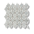 "12""x12"" Carrara and Thassos White Marble Diamond and Oval Mosaic Tile, Design 43"