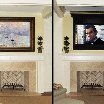 Hide TV, Wires, Speakers with Art