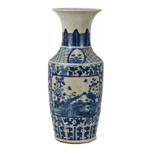 """Vintage Style Blue and White Floral Bird Motif Porcelain Vase 26"""""""