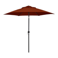 Astella 9' Round Outdoor Patio Umbrella With Push Tilt, Polyester Brick