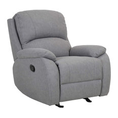 Contemporary Recliner Polyester Upholstery Perfect For Comfort Grey