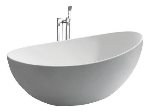 White stand alone stone resin bathtub modern bathtubs by adm bathroom design for Woodbridge 54 modern bathroom freestanding bathtub