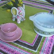 Rare Vintage Tammis Keefe Modern Pink & Green Tablecloth