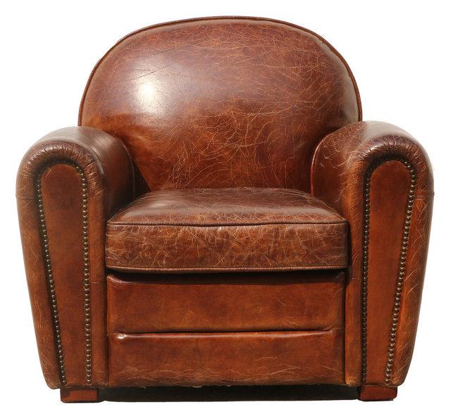 Pasargad Genuine Leather Paris Club Chair Transitional
