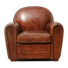 Pasargad   Pasargad Genuine Leather Paris Club Chair   Armchairs And Accent  Chairs