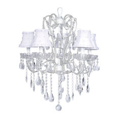 5-Light White Carousel Chandelier With Petal Flower Shades