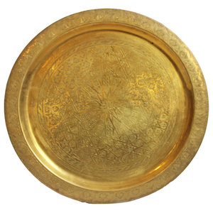 Round Brass Tray Table