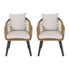 Becky Indoor Wicker Club Chairs with Cushions, Set of 2, Light Brown, Black, Bei