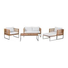 Bermuda Steel and Acacia Outdoor Conversation 5-Piece Set