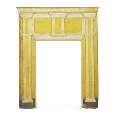 Consigned Federal Antique Fireplace Surround Mantel in Yellow Paint, 19th C