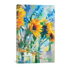 "Sunflowers In Glass Bottles by Richard Wallich Canvas Print, 26""x18""x0.75"""