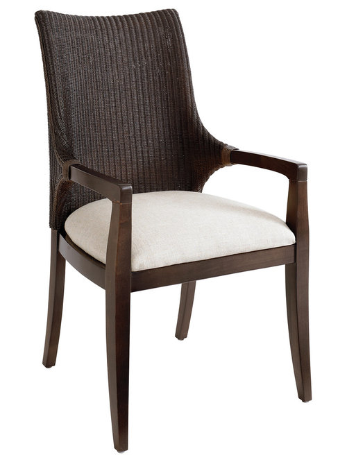 Custom Dining Woven Loom Arm Chair By Bassett Furniture   Dining Chairs