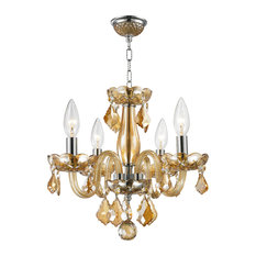 """4-Light 12"""" Crystal Candle Chandelier, Amber"""