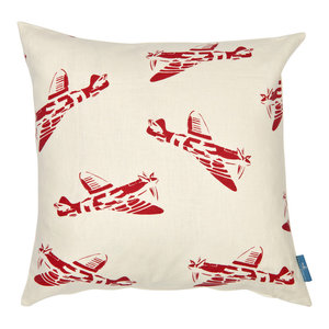"""PaperBoy Interiors """"Spitfires"""" Cushion, White and Red"""
