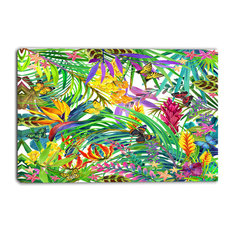 """Tropical Leaves and Flowers"" Floral Canvas Artwork, 40""x30"""