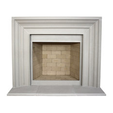 Classic Cast Stone Fireplace Mantel, Pearl