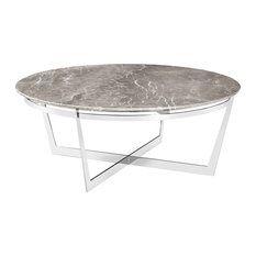 Merveilleux Alexys Gray Marble Round Steel Coffee Table   Coffee Tables