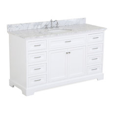 "Kitchen Bath Collection - Aria Bath Vanity With Carrara Marble Top, White, 60"" - Bathroom Vanities and Sink Consoles"