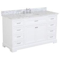 "Aria 60"" Bath Vanity, White, Top: Carrara, Single Vanity"