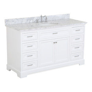 "Aria 60"" Bath Vanity, Single Vanity, Top: Carrara, White"