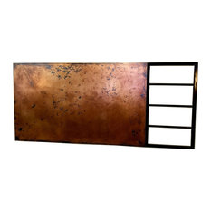 Smooth Copper and Blackened Steel Rail Headboard, Queen