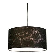 "Marble LED Drop Pendant, Black Marble Shades, 23.7"""