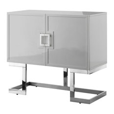 Luanna Accent Cabinet Light Gray And Chrome